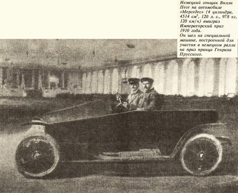 Немецкий гонщик Вилли Пеге на автомобиле «Мерседес»