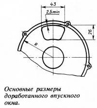 Основные размеры доработанного впускного окна