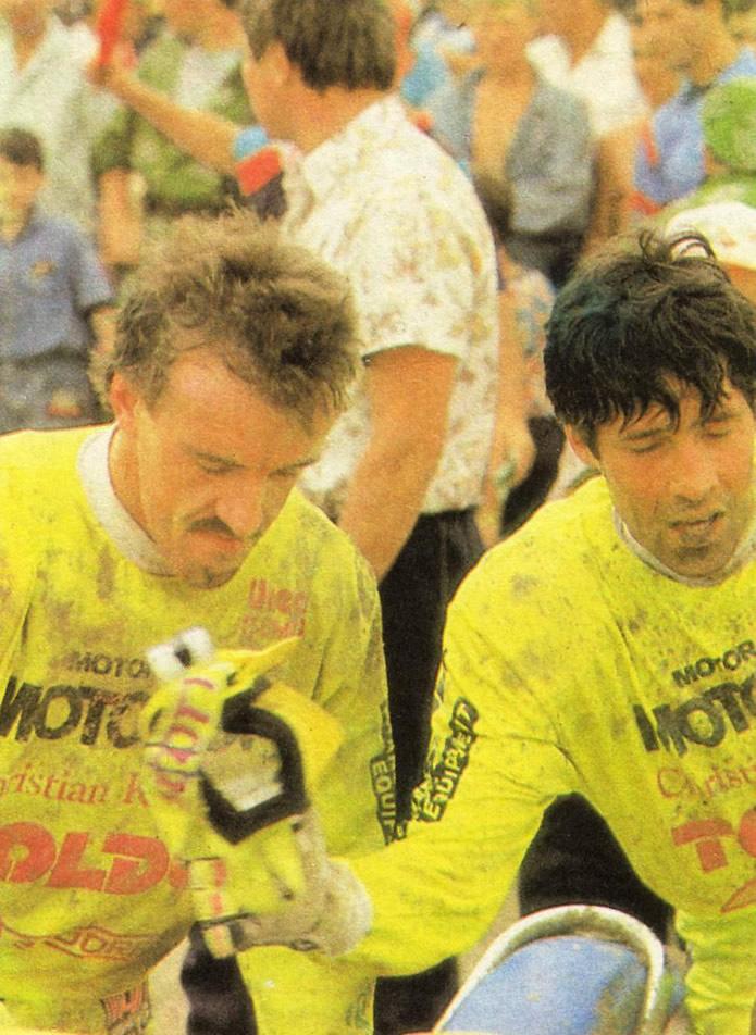 Победители первого заезда А. Ленхерр — Р. Вебер в закрытом парке